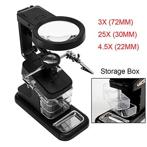 3X/25X/4.5X Lupa LED Soldadura con Sostenedor Clip Cocodrilo Clamp Reparación de Soldadura Herramienta de Aumento Múltiples Funciones: Amazon.es: Oficina y ...