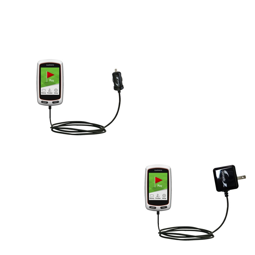 The Essential Gomadic Car and Wall Accessory Kit designed for the Garmin Approach G8 - 12v DC Car and AC Wall Charger Solutions with TipExchange