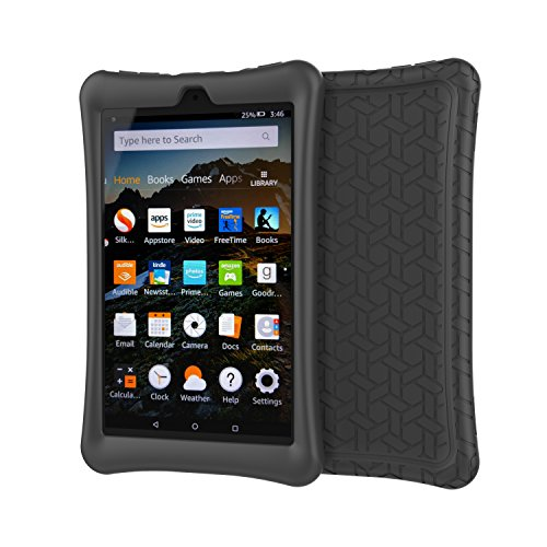 (XtremPro 11189 Amazon Fire HD 8 Black Case Protective Silicone Rubber Tablet Cover)