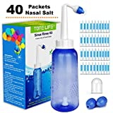 TONELIFE Sinus Rinse Kit 300ml+40Packets Saline Nasal Care Refills - Nose Cleaner - Nasal Rinse System - Neti Pot with 40 Count Powdered Saline Convenient Packets for Adult Children Daily Nose Clean