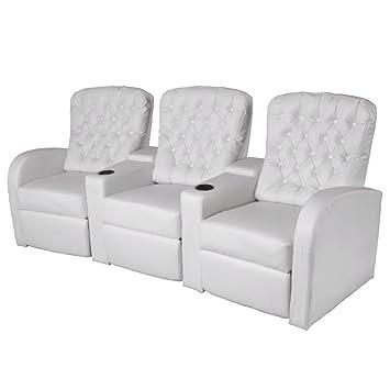 WEILANDEAL Sofa reclinable 3 plazas de Cuero Artificial ...