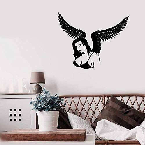 Aweyu Quotes Wall Sticker Mural Decal Art Home Decor Sexy Gothic Girl with Wings