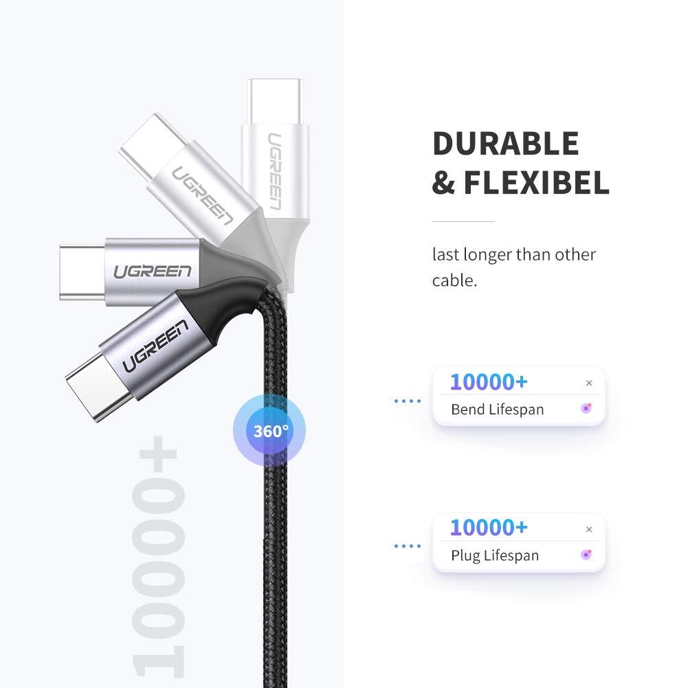Huawei P20 Pro//Mate 10 Pro y M/ás Samsung S10 S9 S8 para Macbook Pro Nexus 5X 6P UGREEN Cable USB C a USB C 1 Metro Thunderbolt 3 iMac Cable PD 20V 3A 60W Carga R/ápida Cable USB Tipo C Doble