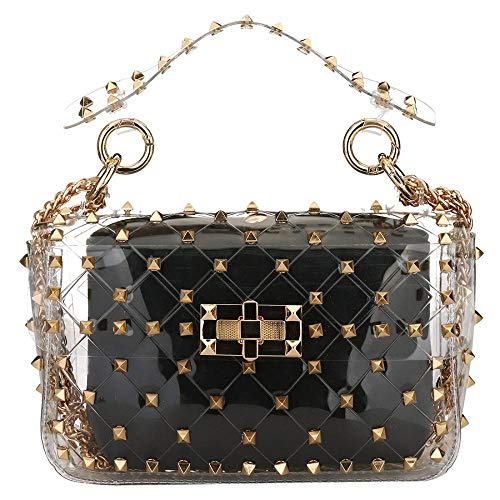 Pvc Fashion Bag - Fashion 2 in 1 Clear Tote Bag Rivet Transparent Design Handbag Metal Chain Clutch Purse Shoulder Bags (Black)