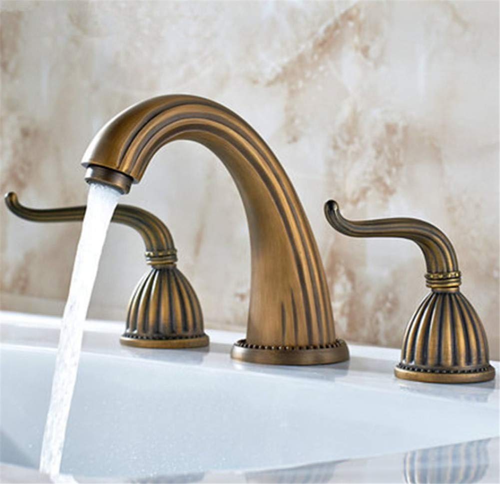 XINXI HOME Bathroom Sink Taps Antique Copper Basin Three-Piece Faucet Three-Hole Split Faucet Hot And Cold Water Mixer