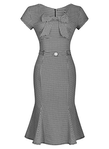 2A0kzhna0 Women's Vintage Houndstooth-Print Bow Slim Retro Evening Dress, Gray, size Large (90s Themed Clothes)