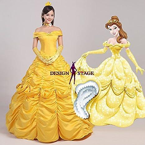 ディズニー映画 美女と野獣 ベル 風 ドレス 姫 大人 ドレス コスチューム コスプレ衣装 仮装 変装