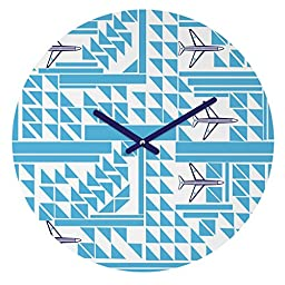 DENY Designs Vy La,  Airplanes and Triangles , Round Clock, Round, 12\