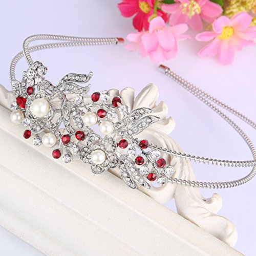 EVER FAITH Silver-Tone Austrian Crystal Cream Simulated Pearl Flower Leaf Hair Head Band Red