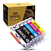 #LightningDeal ONLYU Compatible Ink Cartridge Replacement for Canon 280 281 PGI-280XXL CLI-281XXL PGI 280 XXL CLI 281 XXL PIXMA TR7520 TR8520 TS6120 TS6220 TS8220 TS9120 TS9520 TS9521C Printer (5 Pack)