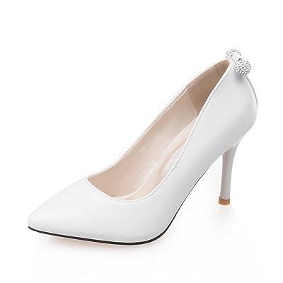 AdeeSu Mesdames Sexy Brevet Chaussures Pompes en Cuir Blanc, 35.5 EU, SDC00059