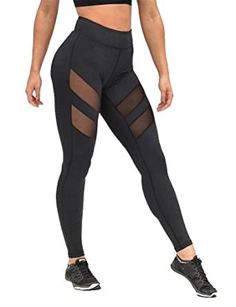 Romastory Women's High Waist Yoga Pants Sexy Mesh Stitching Leggings Tights  (M, Black)