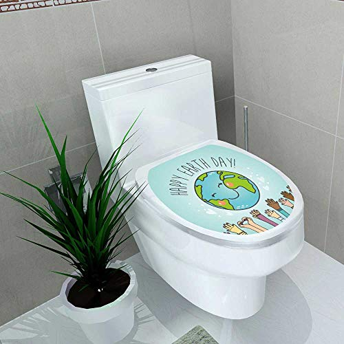 Toilet Seat Decal Vinyl Postcard Cartoon Earth Globe People Nationalities Vector Decal Sticker Toilet Decoration W13 x L16