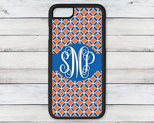 Personalized Monogram Phone Case Orange and Blue Geometric Patterned Background iPhone 6 7 8 Plus