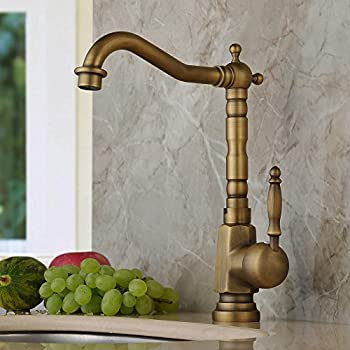 home built antique brass finish widespread kitchen sink faucet centerset tap - Brass Kitchen Sinks