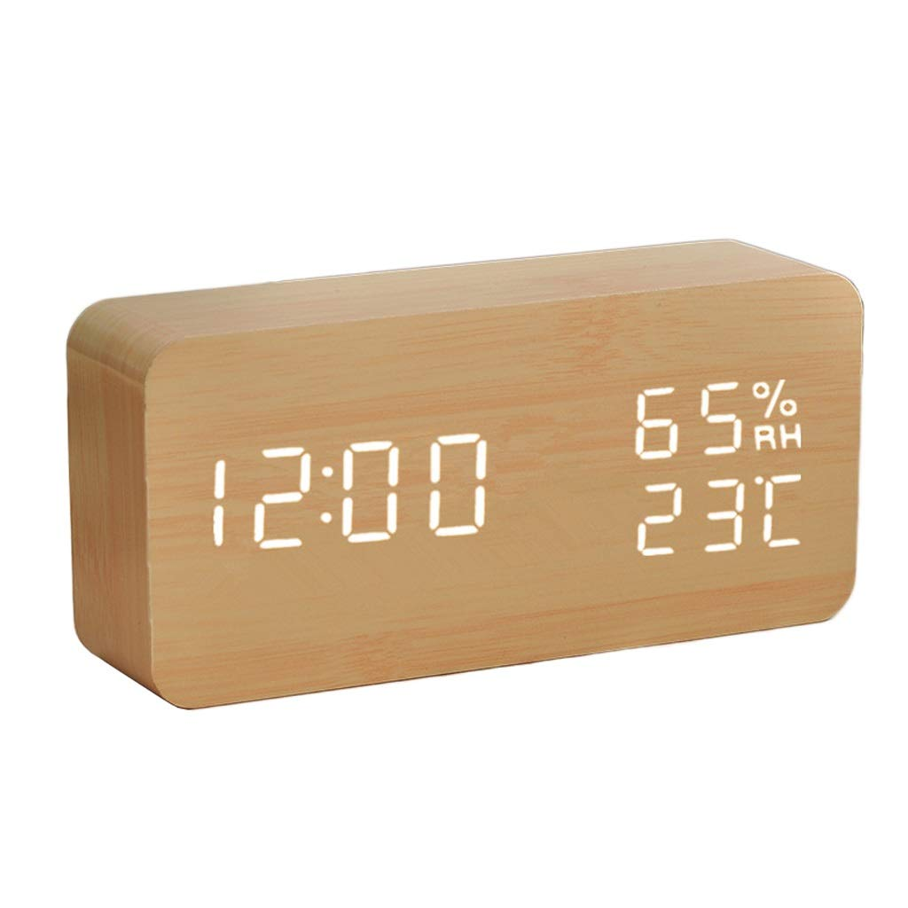 LF stores Weather Clock LED HD Display Temperature Humidity Meter Wooden Simple Weather Clock Electronics Luminous Bedside Alarm Clock Weather Monitoring Clocks (Color : Charging- Natural) by LF stores