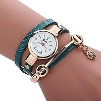 Women's Watch,Fashion Stainless Strap Bracelet Analog Quartz Ladies Watch with Pendant Axchongery