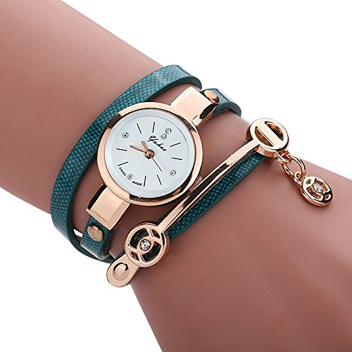 Women's Watch,Elegant Wrap Around Strap Bracelet Quartz Dial Metal Wristwatch with Pendant Axchongery (Blue)
