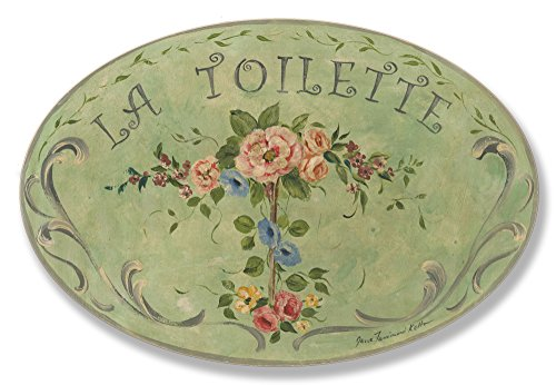 Stupell Home Décor La Toilette Green Floral Oval Bathroom Wall Plaque, 10 x 0.5 x 15, Proudly Made in USA (Wood Oval Hanging Plaque)