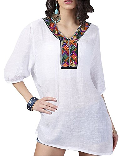 Price comparison product image YiYaYo Women's 3 / 4 Sleeve Embroidered Bohemian Cotton Tops Shirt Tunic Blouse White L