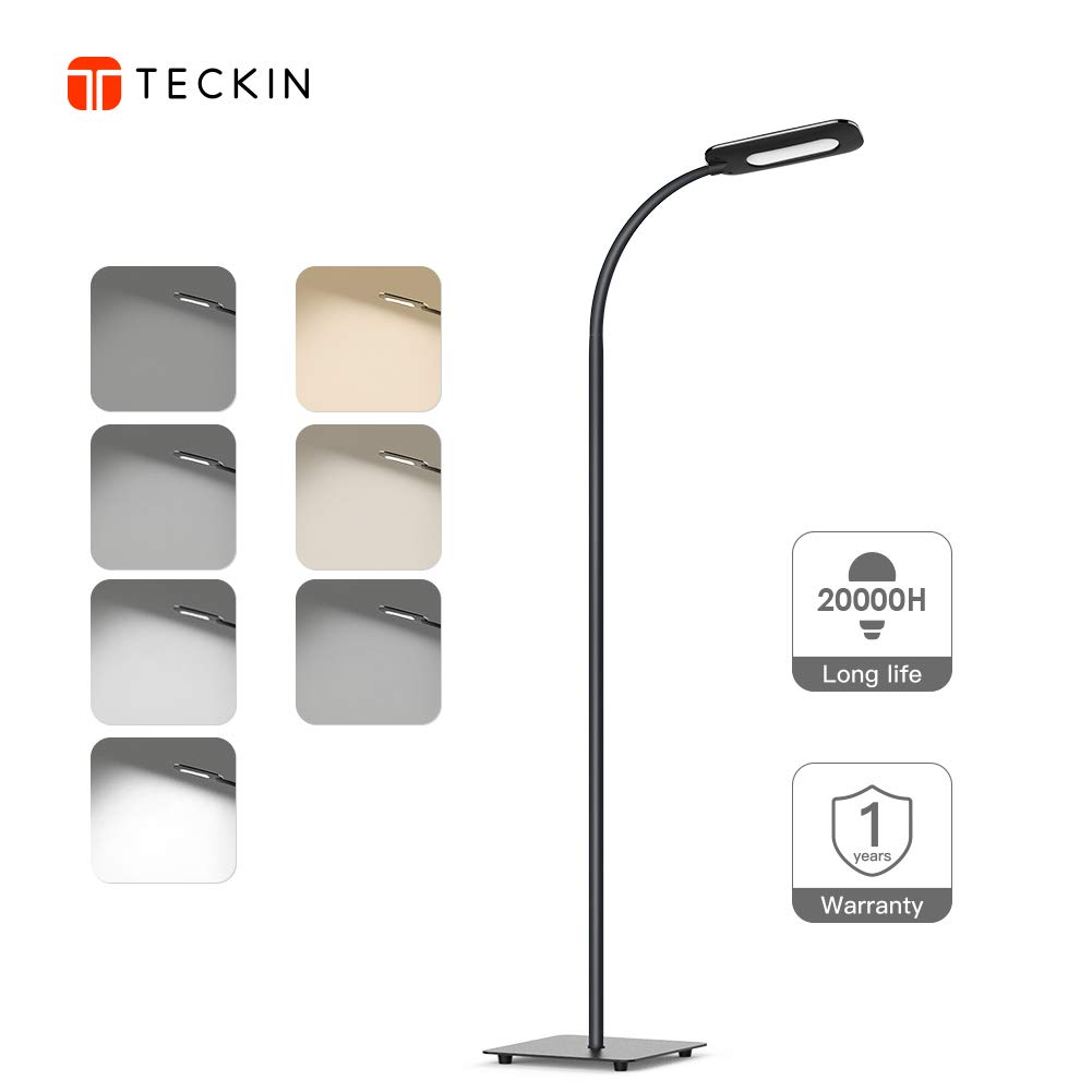Floor Lamp, LED Floor Light, TECKIN Reading Standing Lamp Dimmable for Living Room Bedroom, Long Lifespan High Lumens Touch Control Floor Light, 3 Color Temperatures, 4 Level Brightness by TECKIN