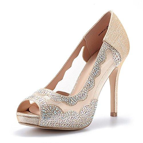 DREAM PAIRS Women's Divine-01 Gold High Heel Pump Shoes - 9 M US