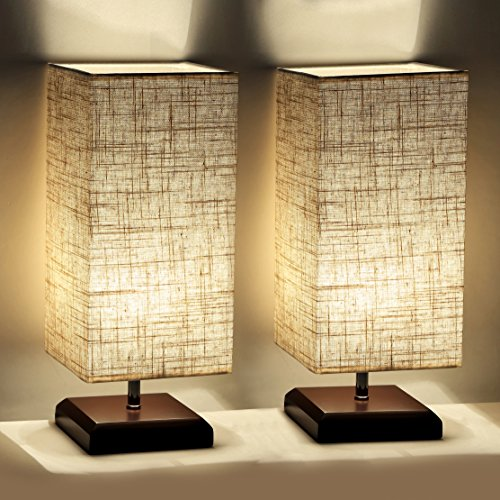 Bedroom Living Room Dresser (Cavogin 2 PCS Minimalist Romantic Solid Wood Table Lamp With Flaxen Fabric Shade Bedside Desk Lamp For Bedroom, Dresser, Living Room, Baby Room, College Dorm, Coffee Table, Bookcase)