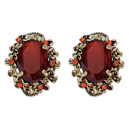 BriLove Indian Victorian Style Crystal Floral Scroll Cameo Inspired Oval Stud Earrings Ruby Color Antique-Gold-toned