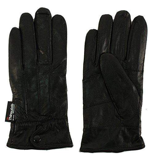 Ladies Winter 3M Thinsulate Soft Genuine Leather Wrist Snap Gloves Black X-Large (Ladies Leather Hats)