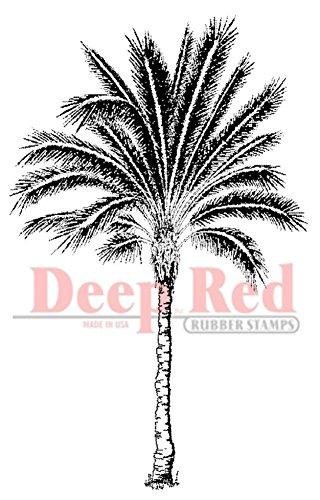Unmounted Stamp Storage - Deep Red Stamps Palm Tree Rubber Stamp
