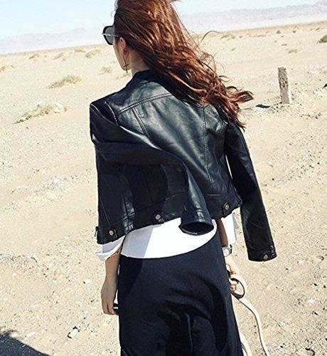 De Mujer cremallera Chaqueta negro con de Cuero Chaqueta Corta Softshell larga manga Cazadoras PU wRqT5q