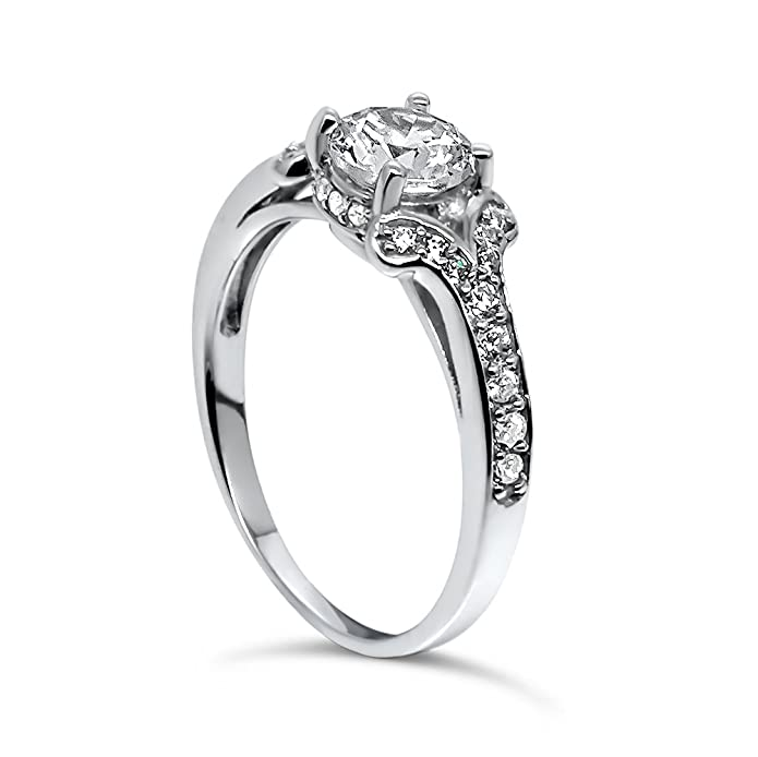 925 Sterling Silver UK Hallmarked White Gold Plated 1 ct Lab Diamond Solitaire Ladies wedding engagement ring lvZoAumu