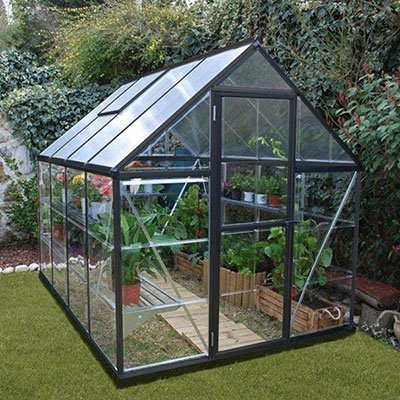 [Palram Hybrid Greenhouse, 6' wide x 8' long, limited edition with dark grey frame] (Backyard Hobby Greenhouse)