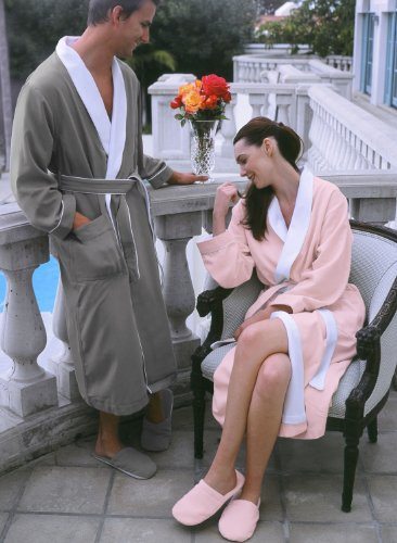 Luxury Spa Robe - Microfiber with Cotton Terry Lining, Pink, XXX-Large by Plush Necessities (Image #3)