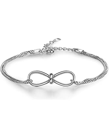 cf724f18f427 aiuin 925 plata infinity pulseras y soporte de cadena pulseras para mujeres  niña 4 niveles de