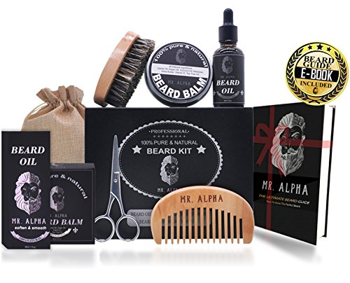 Beard Grooming Kit Gift Set for Men – Essential Facial Hair Care | Mustache Comb, Beard Brush, Styling Wax Balm, Professional Trimming Scissors, Hydrating Beard Conditioner Oil | Organic Ingredients