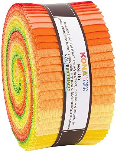 "Robert Kaufman Kona Cotton Solids Citrus Fruit Roll Up 2.5"" Precut Cotton Fabric Quilting Strips Jelly Roll Assortment RU-771-40 from Robert Kaufman Fabrics"