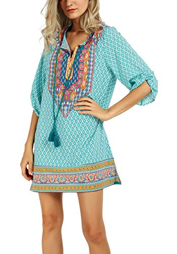 Les Femmes De Coco Urbain Vintage Cravate Bohème Modèle De Robe De Quart De Travail D'été De Style Ethnique Imprimé 18