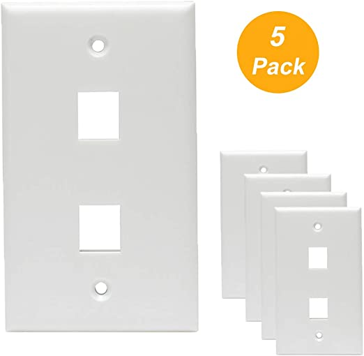 10 Pack 1 Port Keystone Insert Jack CAT5 CAT6 RJ45 Coax 1-Gang Wall Plate WHITE