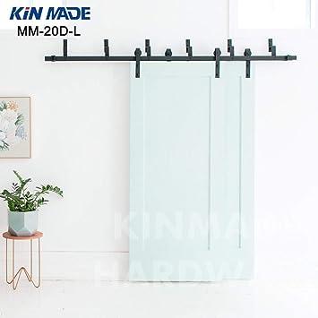 KIN MADE MM20D-L Bypass - Puerta corredera para armario (madera de granero, estructura rústica, doble panel), color negro: Amazon.es: Bricolaje y herramientas