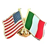 Backwoods Barnaby USA-Italy Friendship Pin/American Italian Crossed Flags Broach