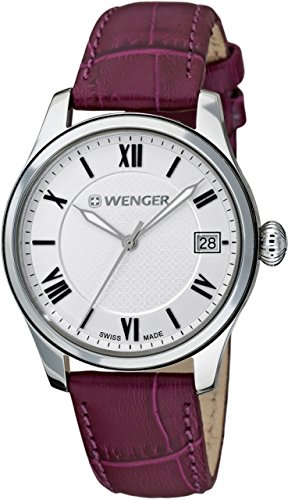 Wenger Terragraph Three-Hand Leather - Purple Women's Watch Box set #60.0521.103