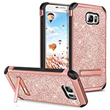 Note 5 Case,Samsung Galaxy Note 5 Case Kickstand GUAGUA Luxury Shiny Slim Fit Hybrid Hard PC Cover Bling Faux Leather Shockproof Full Body Protective Phone Case for Samsung Galaxy Note 5,Rose Gold