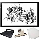 Huion Thin light PAD 5mm LED Drawing Copy Tracing Stencil Board Table Tattoo Pad with Holder, Drawing Board Clip and 6-Piece racing Paper (A2H Holder)