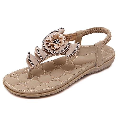 Sandals Feifei Women's Shoes Summer PU Material Vintage Flat Bottom Rhinestone Beach 3 Color Optional Beige WeXGG6Z