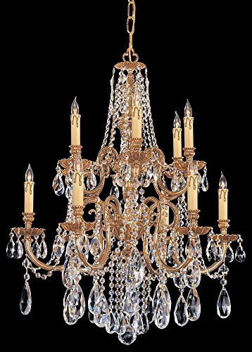(Olde Brass / Hand Polished Novella 12 Light Candle Style Crystal Chandelier )