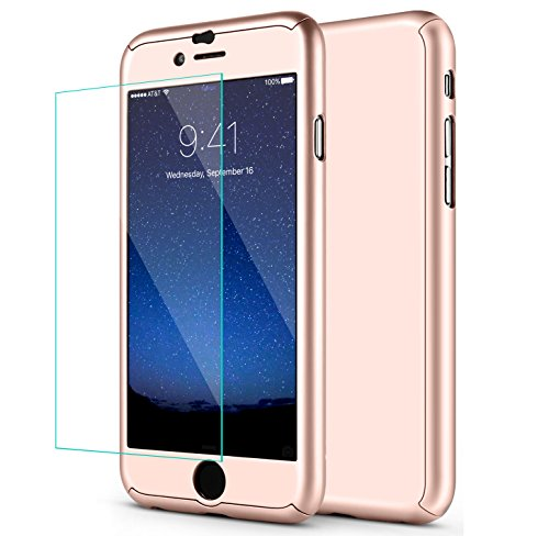 iPhone 6S Case, iPhone 6 Case, SEEKFULL 360 Full Body Protection Ultra-thin Hard Slim Case with [Tempered Glass Screen Protector]case for Apple iPhone 6S 6... (Rose Gold)