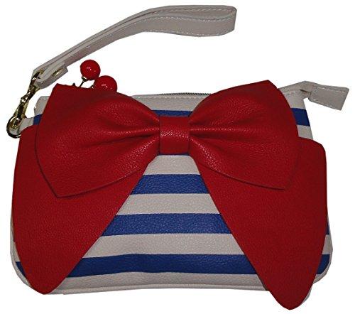 "Betsey Johnson Women's/Girl's ""Bow Regard Stripe"" Wristlet, Blue/White Striped"