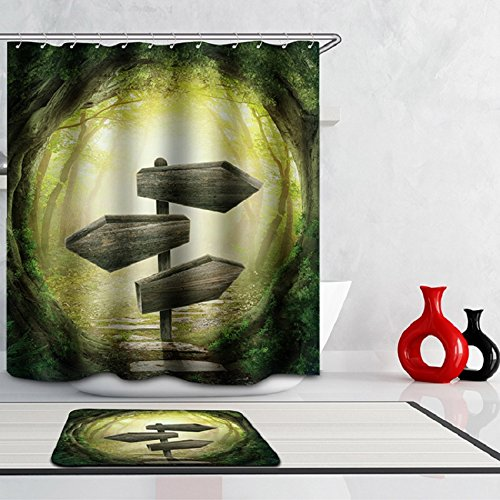 3D Digital Printing Shower Curtain with Hooks (Treated to Resist Deterioration by Mildew and Waterproof) - 72 x 72 inches,Sign-boards