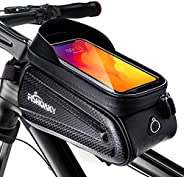 Bike Front Frame Bags, FISHOAKY Waterproof Bicycle Phone Mount Bag, Sensitive Touch Screen Sun Visor Large Cap